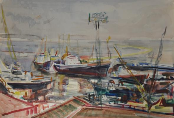 Mikhail Tsezarevich Rabinovich. Ships in port