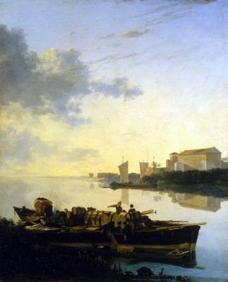 Adam Peynaker. On the river at sunset
