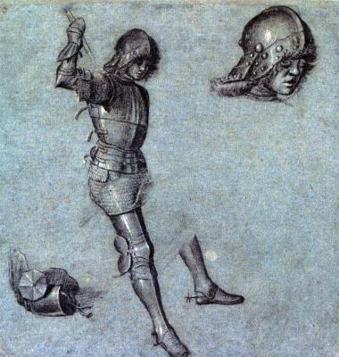 Vittore Carpaccio. Three studies of a cavalier in armor