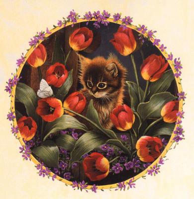 Барбара Митчелл. Кот в красных тюльпанах