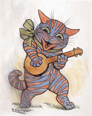 Луис Уэйн. Кот играет на лютне