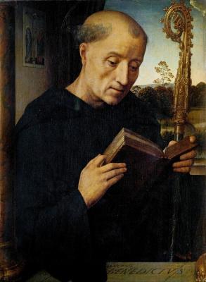 Hans Memling. Saint Benedict. Triptych Portinari. Left panel