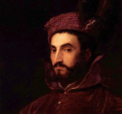 Titian Vecelli. Portrait of Ippolito di Medici. Fragment