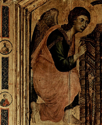 Duccio di Buoninsegna. Rucellai Madonna, scene: Madonna on the throne with an angel, detail: angel