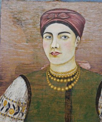 Екатерина Васильевна Билокур. Женщина в зеленом корсете