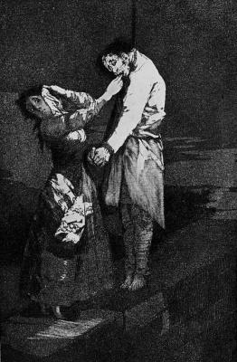 "Francisco Goya. ""Hunting for teeth"" (Series ""Caprichos"", page 12)"