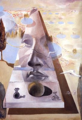 Сальвадор Дали. Явление лица Афродиты Книдской на фоне пейзажа