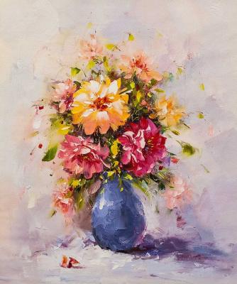 (no name). Garden bouquet in a blue vase
