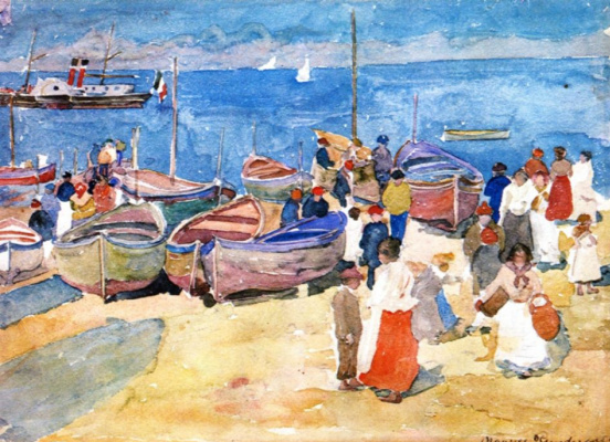 Maurice Braziel Prendergast. On the sea shore