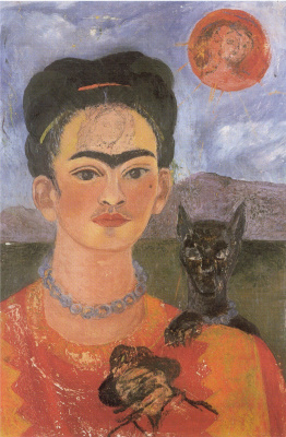 Frida Kahlo. Self-portrait with a portrait of Diego on the breast and Maria between the eyebrows