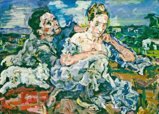 Oskar Kokoschka. Couple with cats