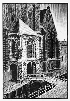 Maurits Cornelis Escher. Entrance to Oud Kirk, Delft