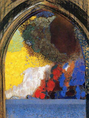 Odilon Redon. Profile of a woman in the window