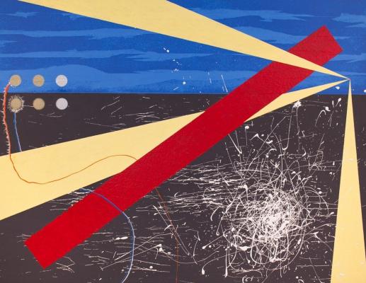 Паша Туремский. Сюрреалистический пейзаж с незримым маяком. ДВП, акрил, лаки. 90х70 см. 2013-2014 г.