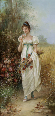 Hans Zack. Girl with meadow flowers and roses