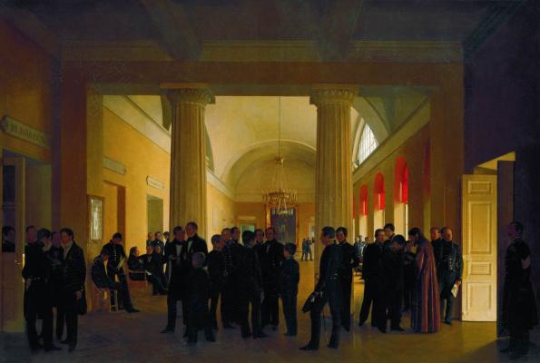 Sergey Konstantinovich Zaryanka. Hall of Law School with groups of teachers and pupils