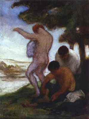 Honore Daumier. Men under the tree