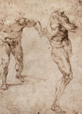 Микеланджело Буонарроти. Этюд с двумя обнаженными фигурами
