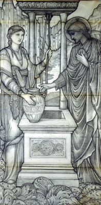 Edward Coley Burne-Jones. Jesus and the woman at the well