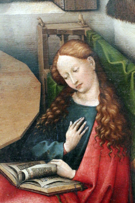 Робер Кампен. Благовещение. Фрагмент: Мария с книгой