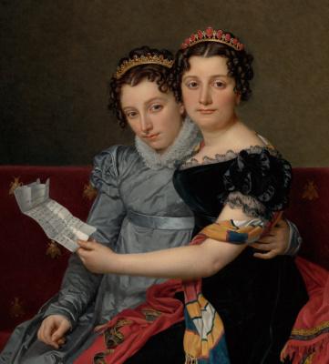 Жак-Луи Давид. Сестры Зинаида и Шарлотта Бонапарт. Фрагмент