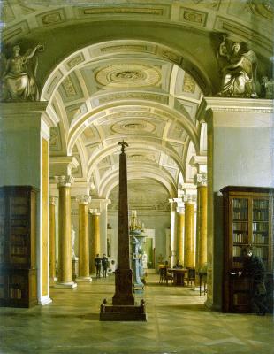 Alexey Vasilyevich Tyranov. View of the Hermitage library