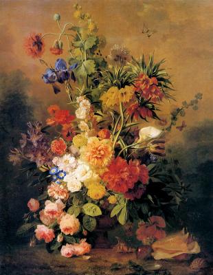 Анри ван Ос-Делез. Яркий цветочный натюрморт