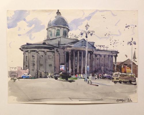 """""""Площадь в Курске"""", 1971г., бум./акв.13х18"""