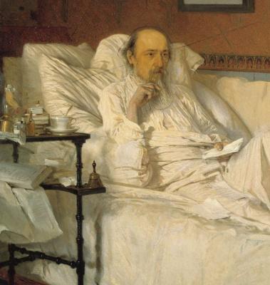 """Ivan Nikolayevich Kramskoy. N. A. Nekrasov in the period of """"Last songs"""". Fragment"""