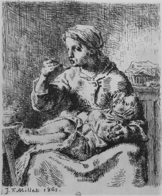 Jean-François Millet. Porridge. Woman feeding a baby