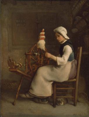 Jean-François Millet. Spinner. Portrait of Emily Millet