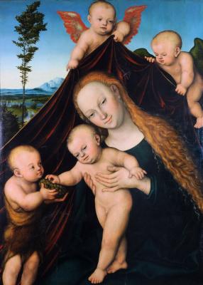 Лукас Кранах Младший. Мадонна с Младенцем и юным Иоанном Крестителем. 1534