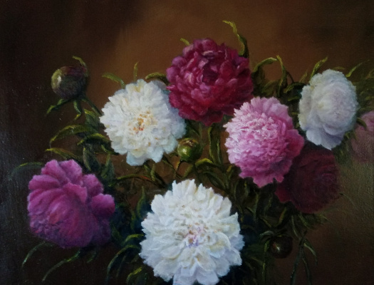 Evgeny Yurievich Miroshnik. Bouquet of tender peonies