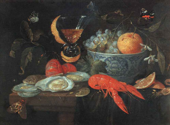 Jan van Kessel Elder. Still life with fruit and shellfish