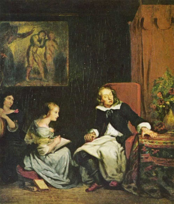"Eugene Delacroix. Milton dictating daughters the ""Paradise Lost"""