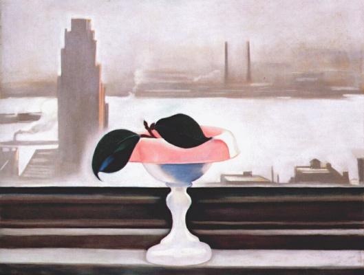 Джорджия О'Киф. Ист-Ривер. Розовая ваза и зеленые листья