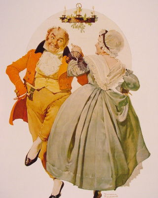 Norman Rockwell. Merry Christmas! Couple dancing under the mistletoe