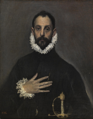 Domenico Theotokopoulos (El Greco). Knight with hand on breast