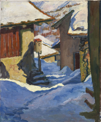 Giovanni Giacometti. Snow-covered houses in Capolago