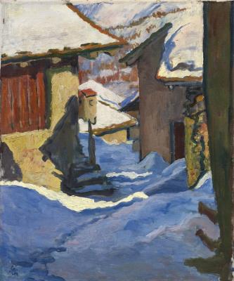Giovanni Giacometti. Snow-covered houses in Capolago