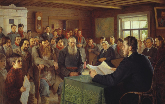 Nikolay Petrovich Bogdanov-Belsky. Sunday reading in a rural school