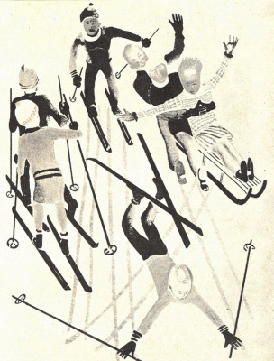 "Alexander Alexandrovich Deineka. Skiing. The Journal ""Spark"", 1928, № 12"