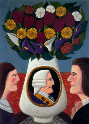 Оскар Демеджо. Белая ваза с цветами