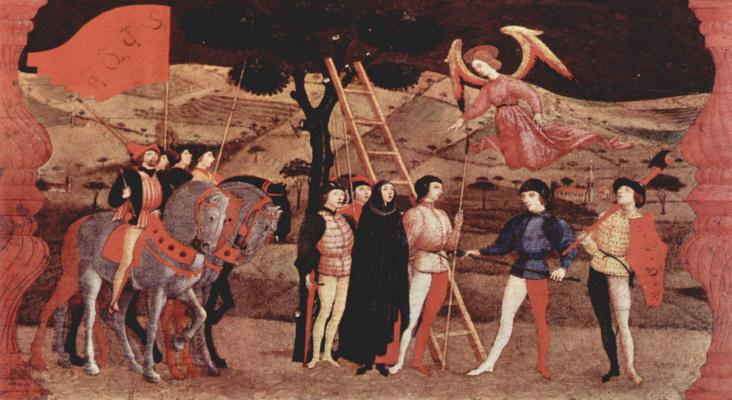 Паоло Уччелло. Легенда о причастии. Покаявшуюся женщину казнят, она перед смертью молится, и ей является ангел