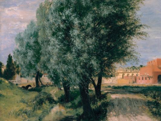 Adolf Friedrich Erdmann von Menzel. Willow on a background of building under construction