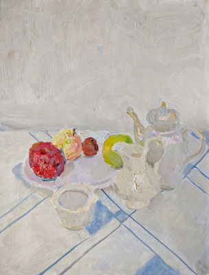 Samir Rakhmanov. White Still Life with Apples