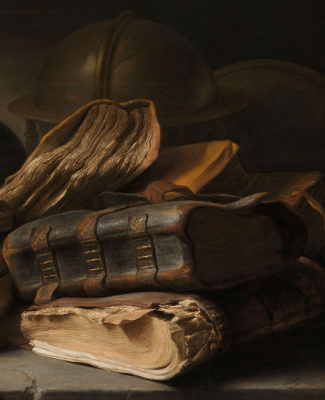 Jan Livens. Still life with books. Fragment. Books and globe