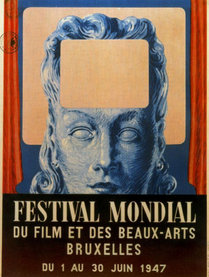 René Magritte. Poster of the International festival of cinema and fine arts in Brussels