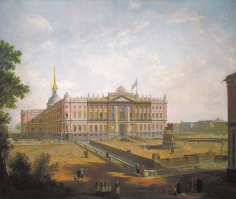 Fedor Yakovlevich Alekseev. View of the Mikhailovsky castle and the area constable in St. Petersburg. About 1800