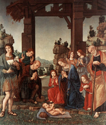 Lorenzo di Credi. The adoration of the shepherds